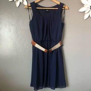 By & By Navy Blue Dress with Belt